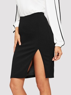Solid Split Skirt