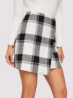Asymmetrical Hem Plaid Skirt