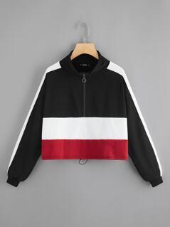 Cut-And-Sew Half Placket Sweatshirt