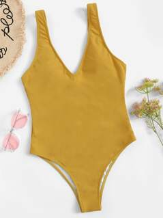 Double V Neckline Solid Swimsuit