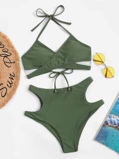 Halterneck Cross Wrap Cutout Bikini Set