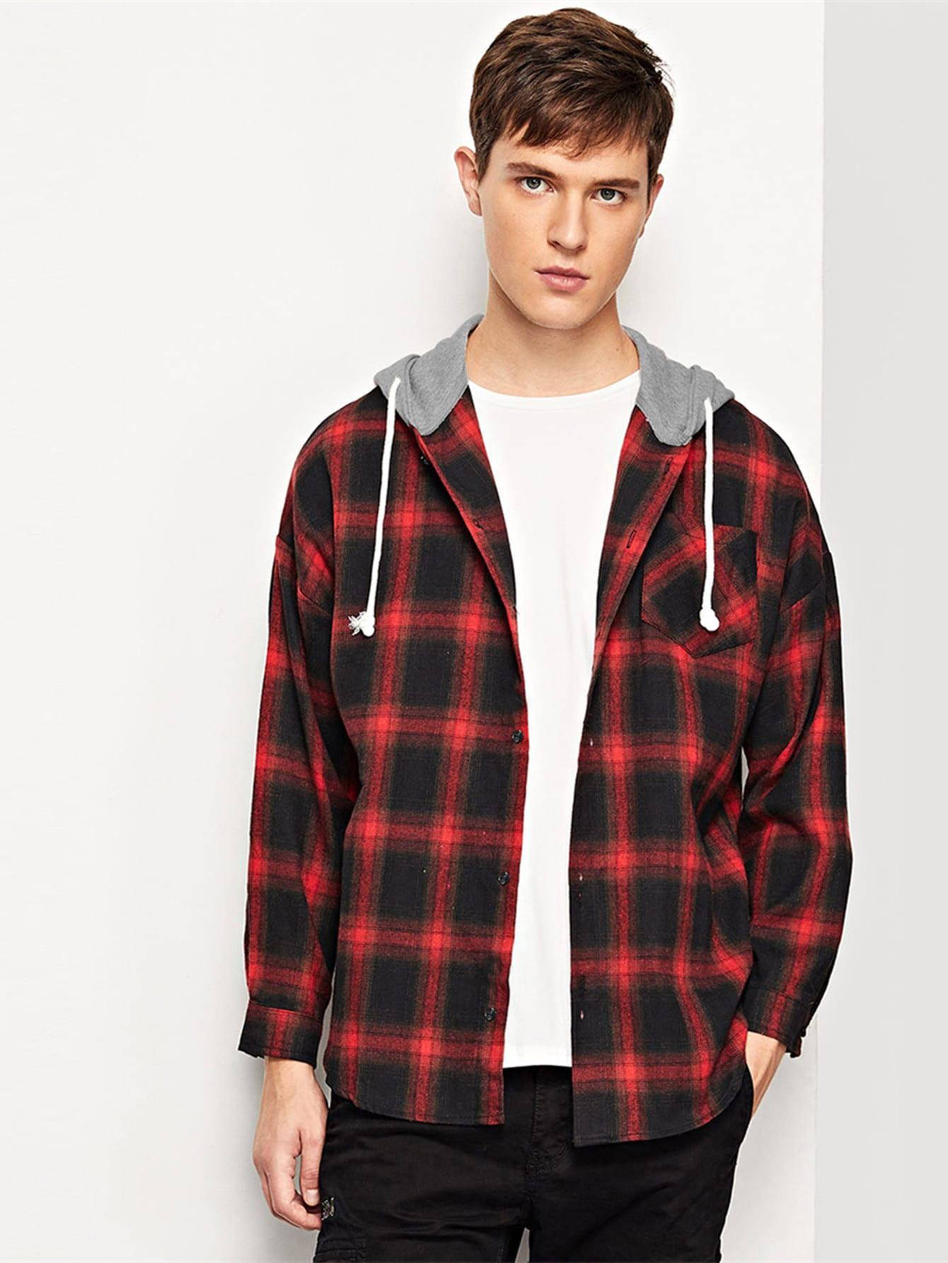 Купить Мужская футболка в клетку с капюшоном и кривой подол, Vitaly, SheIn