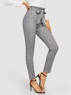Paperbag Waist Plaid Cigarette Pants