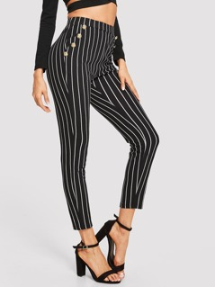Slant Pocket Button Detail Striped Pants