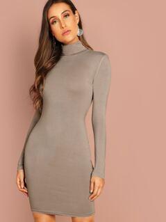 High Neck Form Fitting Dress