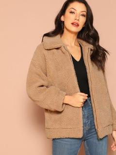 Oversized Zip Front Fuzzy Teddy Bear Jacket