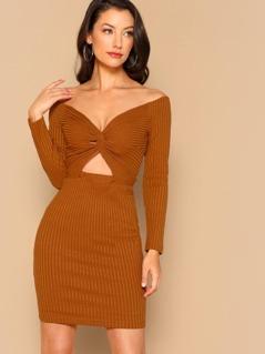 Twist Knot Front Cut Out Bardot Rib Knit Dress