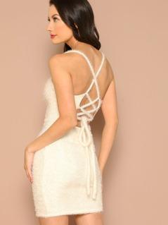 Fuzzy Soft Knit Lace Up Back Spaghetti Strap Teddy Dress