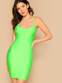 Neon Lime Lace-up Backless Bodycon Halter Dress