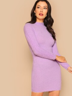 Fuzzy Soft Knit Mock Neck Long Sleeve Sweater Mini Dress