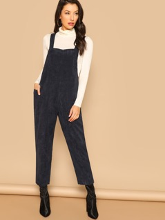 Corduroy Straight Leg Crop Overall Jumpsuit