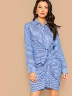 Striped Button Front Knot Detail Mini Shirt Dress
