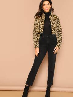 Button Front Raw Hem Leopard Crop Denim Jacket