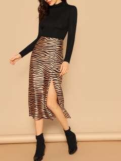 Button Side Slit Zebra Print Midi A-Line Skirt