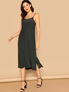 Side Slit Low Back Midi Cami Slip Dress