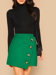 Asymmetric Button Detail Wrap Mini Skirt