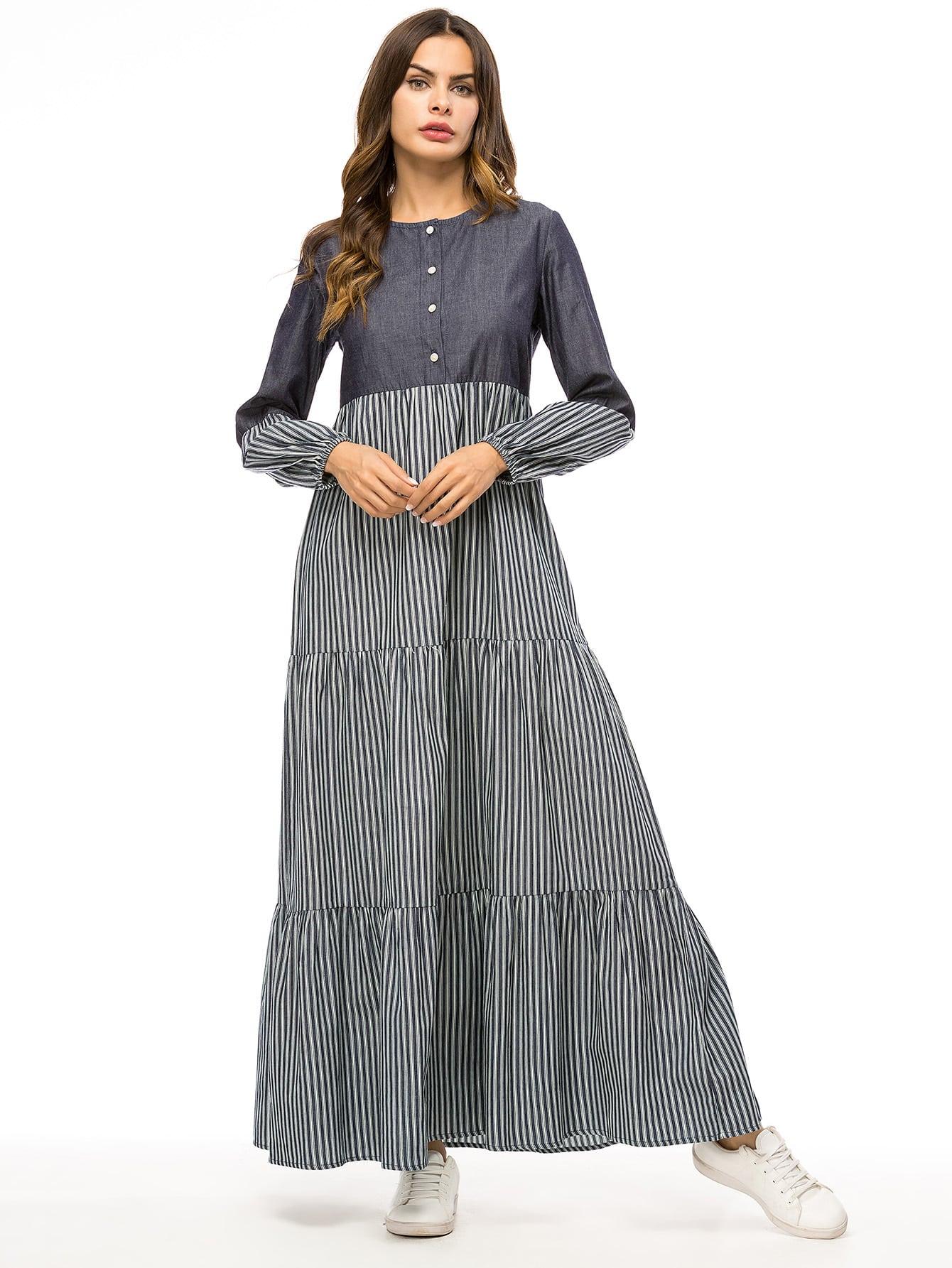 Купить Платье с оригинальным рукавом и полосатым принтом, null, SheIn