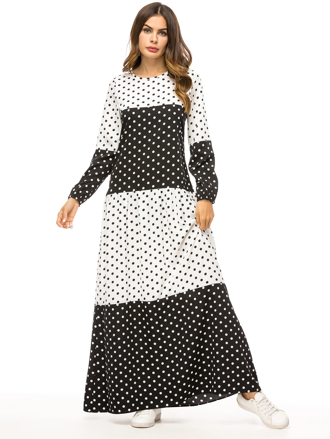Купить Длинное платье в горошек с оригинальным рукавах, null, SheIn