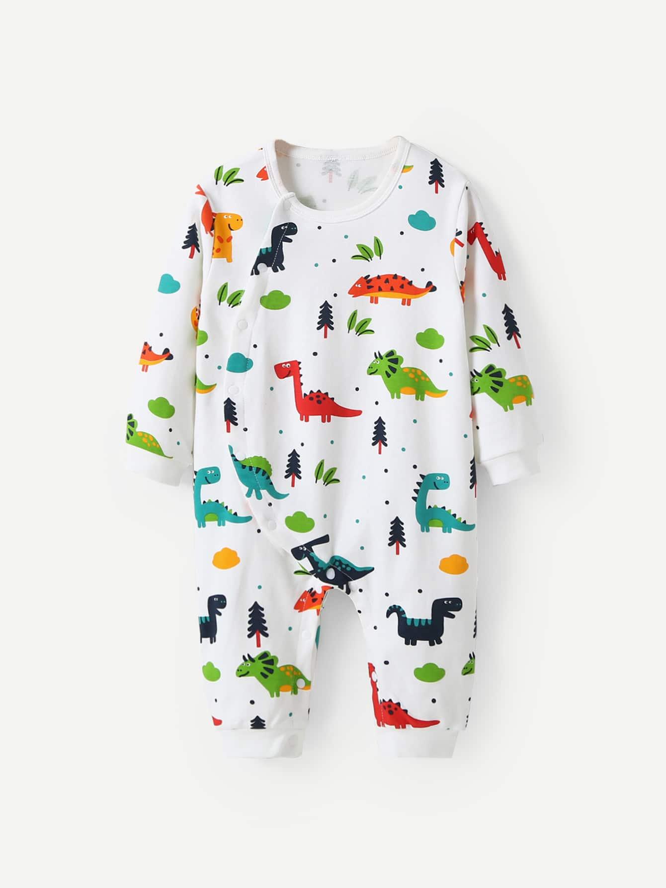 Купить Комбинезон с пуговицей и принтом динозавра для маленьких мальчиков, null, SheIn