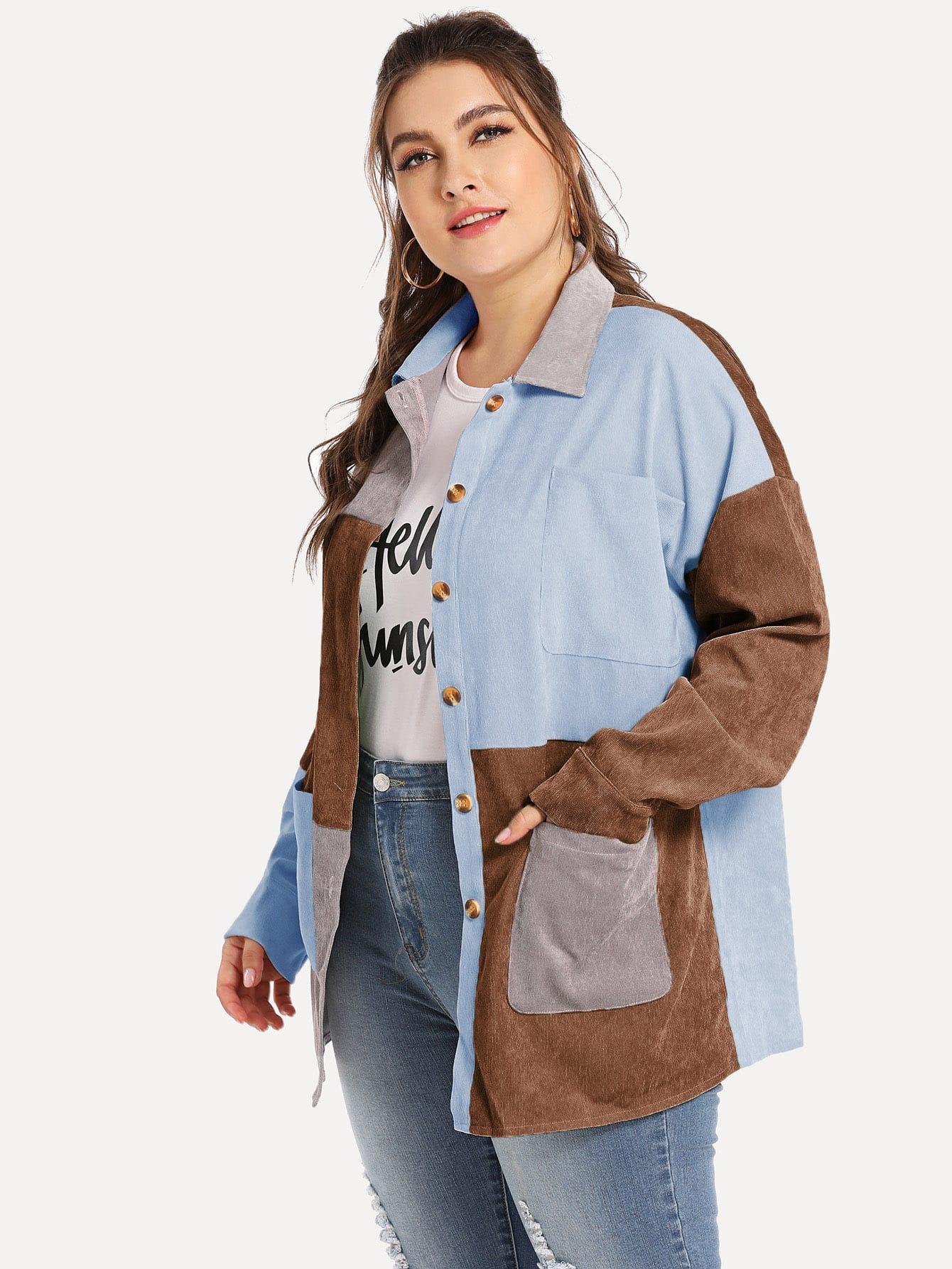 Купить Размера плюс вельветовое кроить и шить пальто, Franziska, SheIn