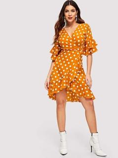 Polka Dot Layered Ruffle Surplice Wrap Dress