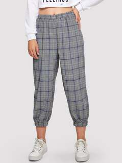 Elastic Waist Plaid Crop Pants