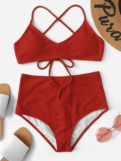 Criss-cross Self Tie Rib-knit Bikini Set