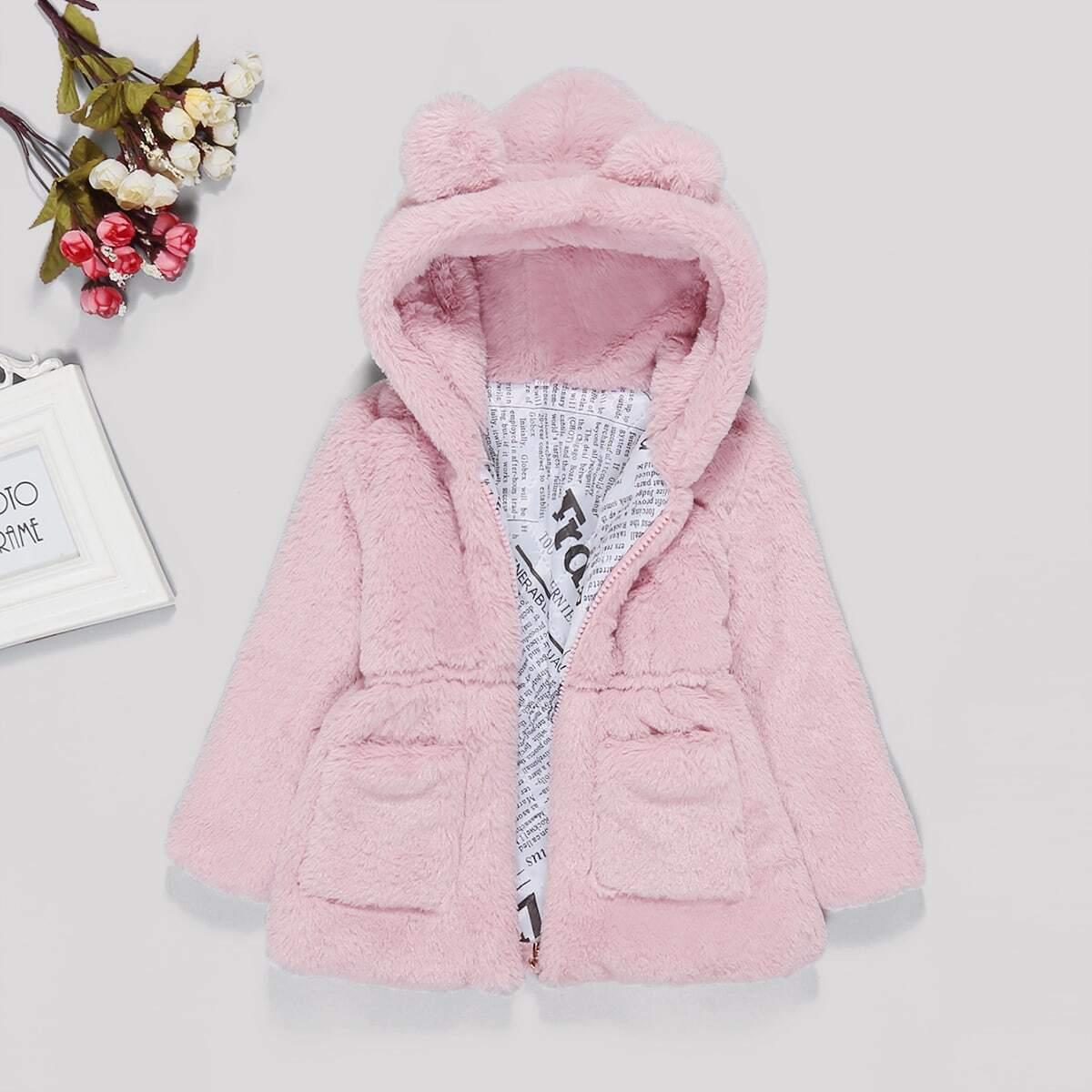 Однотонная куртка тедди с капюшоном из искусственных мехов для маленьких девочек от SHEIN