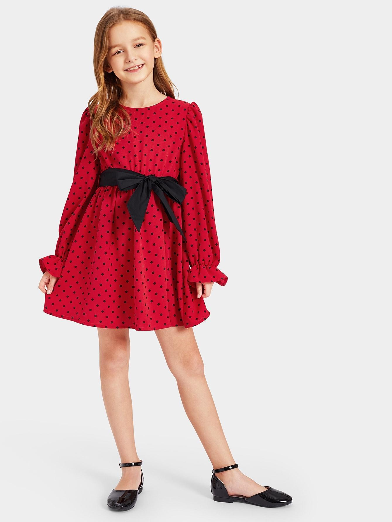 Купить Платье в горошек с завязкой на талии для девочек, Anna C, SheIn