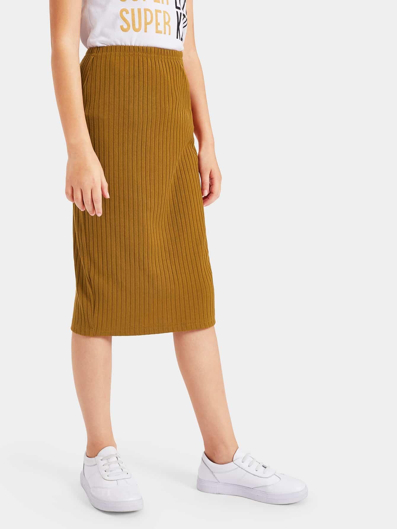 Купить Однотонная вязаная юбка с разрезом для девочек, Anna C, SheIn