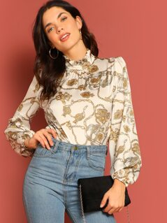 Frilled Collar Keyhole Back Chain Print Top