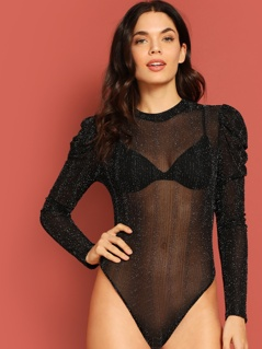 Sheer Puff Sleeve Glitter Bodysuit