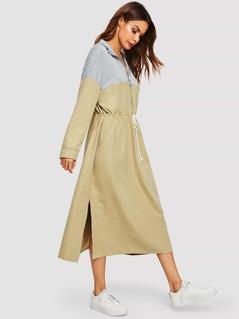Colorblock Drawstring Waist Zip Dress
