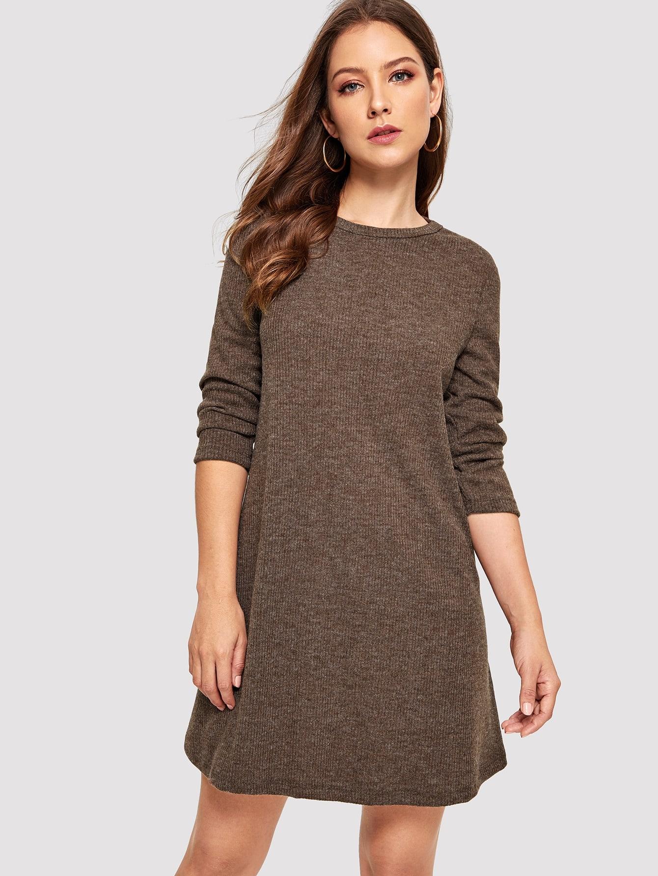 Купить Свитер платье с круглым вырезом, Debi Cruz, SheIn