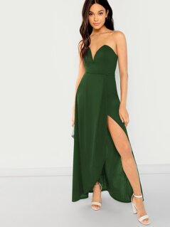 Split Solid Tube Dress
