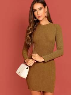 Lettuce Edge Rib Knit Dress