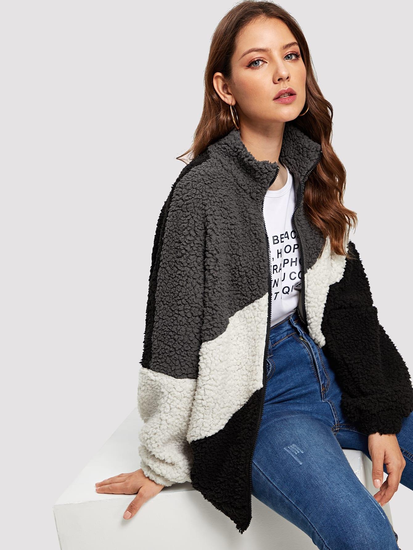 Купить Контрастная пушистая куртка с молнией, Debi Cruz, SheIn
