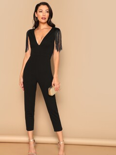 Plunging Neck Fringe Fitted Jumpsuit