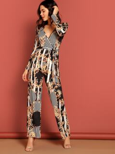 Plunge Neck Floral & Striped Belted Palazzo Jumpsuit