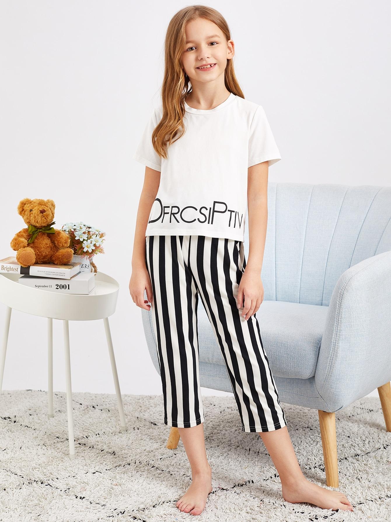 Топ с текстовым принтом и полосатые брюки пижамы комплект для девочек от SheIn