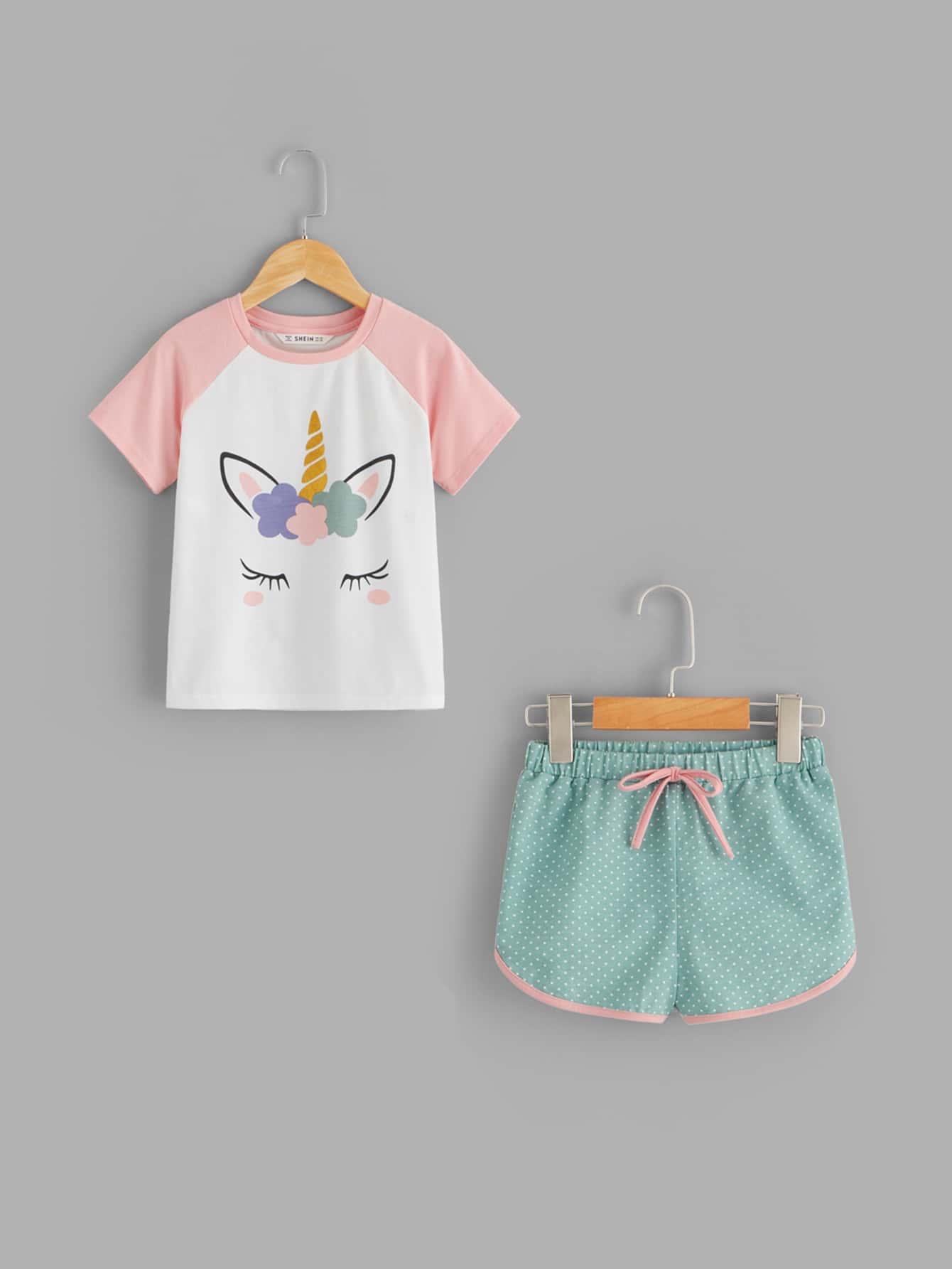 Пуловер с графическим принтом и шорты пижамы комплект для девочек от SheIn