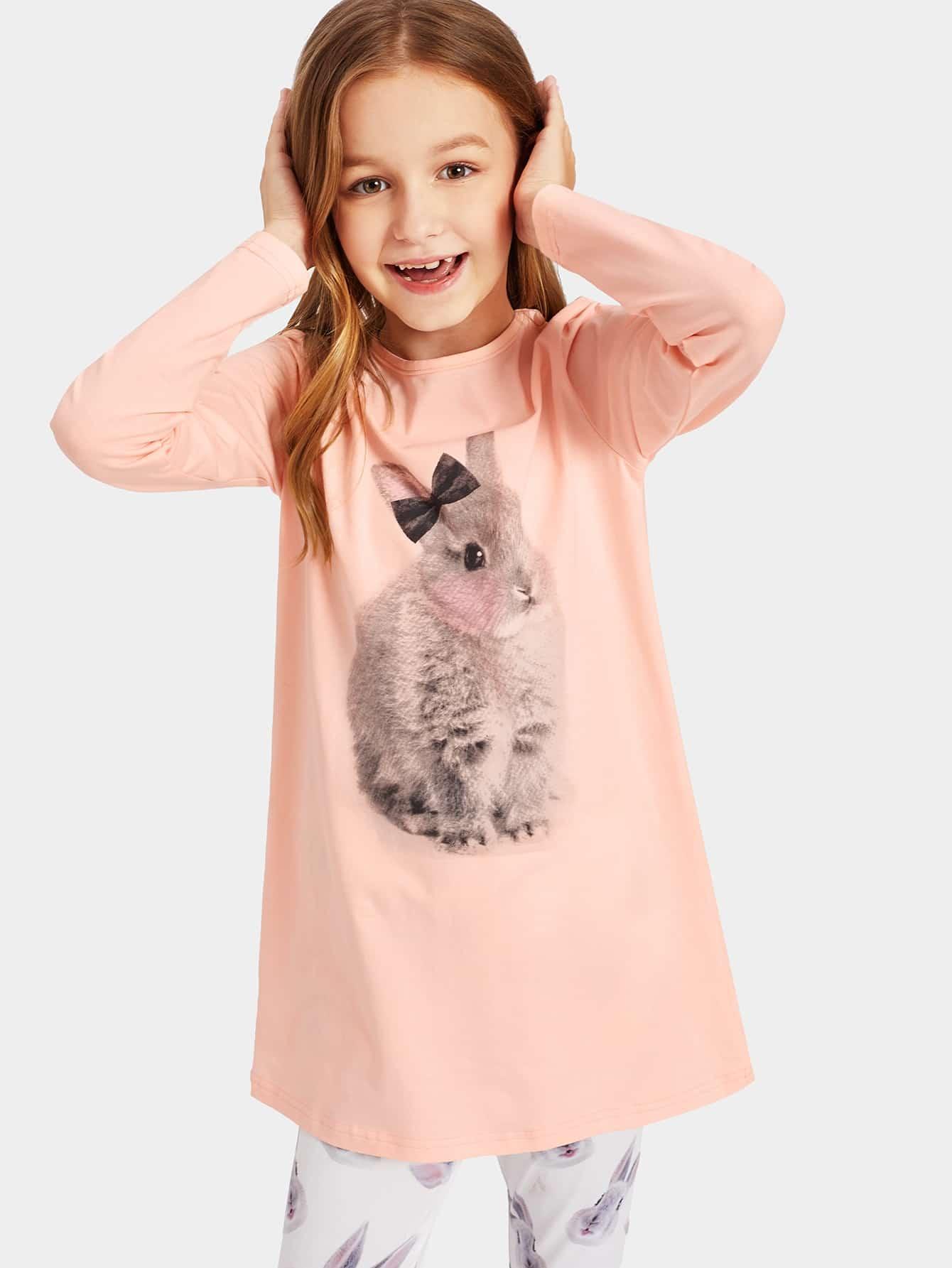 Блуза с графическим принтом и леггинсы PJ для девочек от SheIn