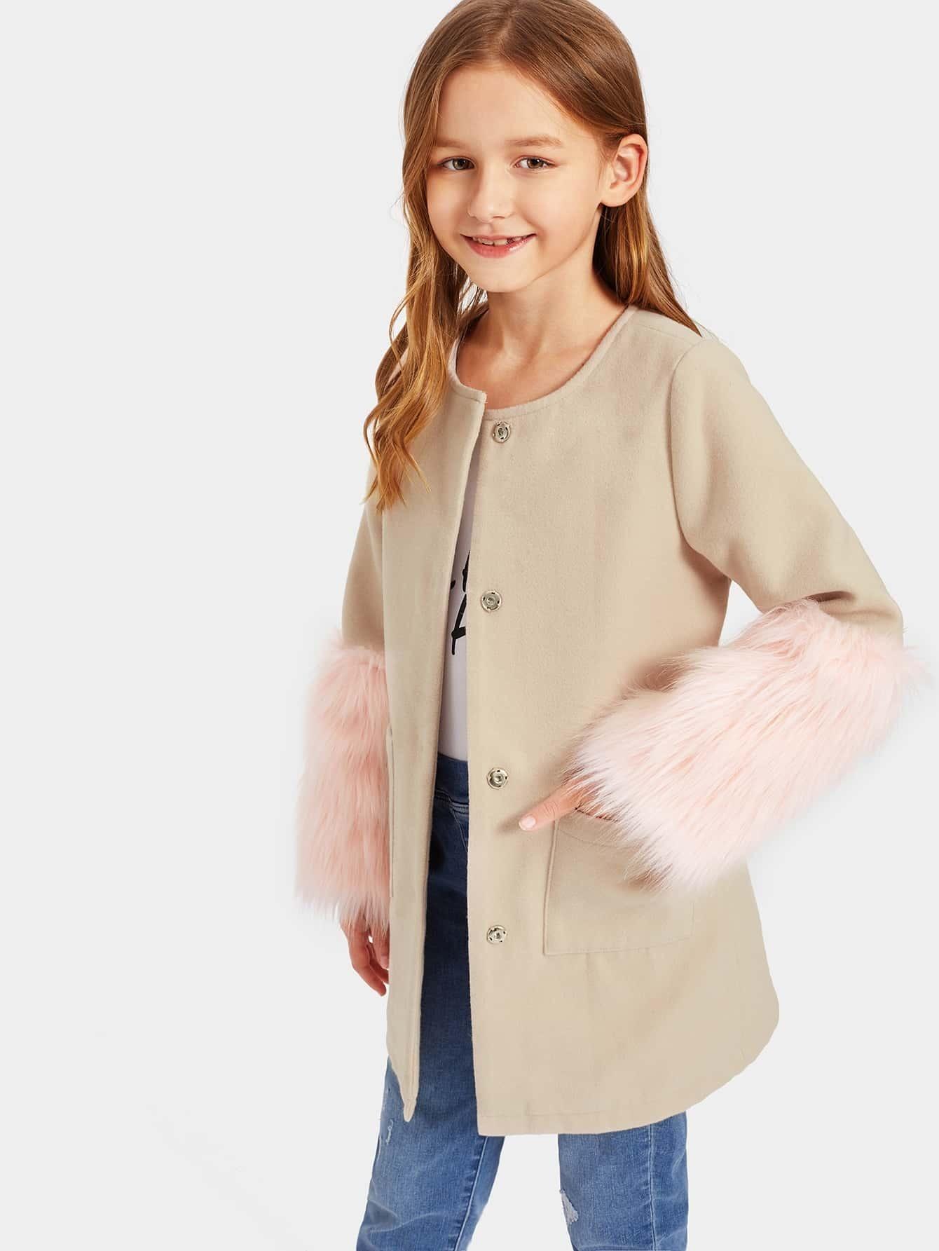 Купить Однобортное пальто с искусственным мехом для девочек, Sashab, SheIn