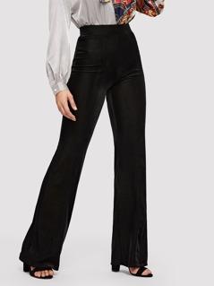 Zip Back Straight Leg Velvet Pants