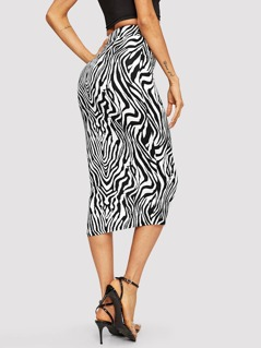 Elastic Waist Animal Print Pencil Skirt