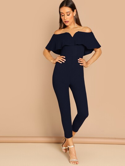 V-cut Front Foldover Off Shoulder Fitted Jumpsuit