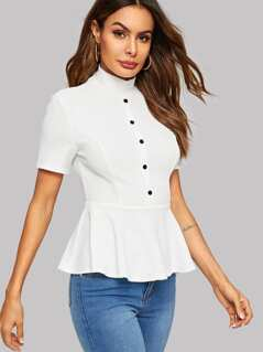 Button Front Mock-neck Peplum Top