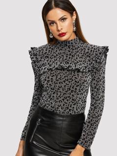 Frill Yoke Glitter Leopard T-Shirt