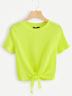 Knot Hem Rib-knit Neon Top