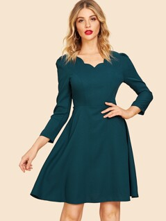 80s Puff Sleeve Scalloped Neck Flare Dress